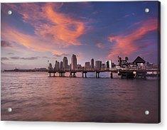 Coronado Ferry Landing Sunset Acrylic Print by Scott Cunningham
