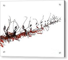 Corps De Ballet In Red Tutus Acrylic Print by Lousine Hogtanian