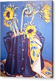 Acrylic Print featuring the painting Corset And Sunflowers by Laura Aceto