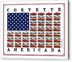 Corvette American Flag Acrylic Print
