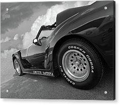 Acrylic Print featuring the photograph Corvette Daytona In Black And White by Gill Billington
