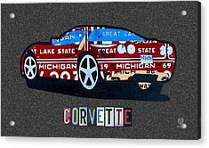 Corvette Recycled Artwork Made With Vintage Recycled Michigan License Plates Acrylic Print by Design Turnpike