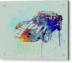 Corvette Watercolor Acrylic Print by Naxart Studio