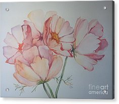Acrylic Print featuring the painting Cosmea by Iya Carson
