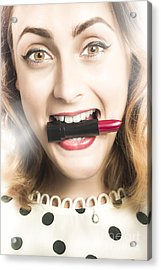 Cosmetic Pin Up With Lipstick Smile Acrylic Print