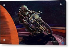 Acrylic Print featuring the painting Cosmic Cafe Racer by Sassan Filsoof