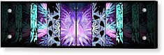 Acrylic Print featuring the mixed media Cosmic Collage Mosaic Left Mirrored by Shawn Dall
