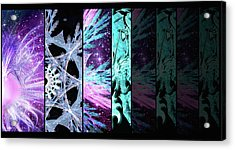 Acrylic Print featuring the mixed media Cosmic Collage Mosaic Left Side Flipped by Shawn Dall