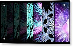 Acrylic Print featuring the mixed media Cosmic Collage Mosaic Left Side by Shawn Dall
