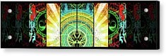 Acrylic Print featuring the mixed media Cosmic Collage Mosaic Right Side Mirrored by Shawn Dall