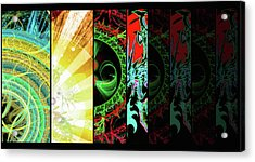 Acrylic Print featuring the mixed media Cosmic Collage Mosaic Right Side by Shawn Dall