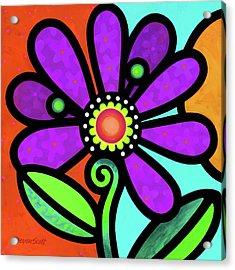 Cosmic Daisy In Purple Acrylic Print