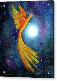 Cosmic Phoenix Rising Acrylic Print by Laura Iverson