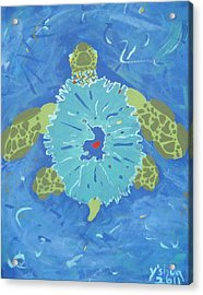 Cosmic Turtle Acrylic Print by Yshua The Painter