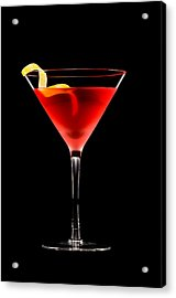 Cosmopolitan Cocktail In Front Of A Black Background  Acrylic Print by Ulrich Schade