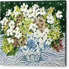 Cosmos And Hydrangeas In A Chinese Vase Acrylic Print