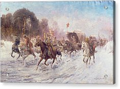 Cossacks In A Winter Landscape   Acrylic Print by Anton Baumgartner Stoiloff