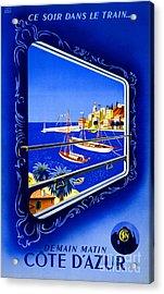 Cote D'azur Vintage Poster Restored Acrylic Print