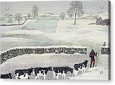 Cotswold - Winter Scene Acrylic Print by Maggie Rowe