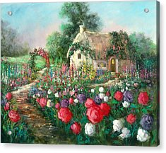 Cotswold Rose Garden Acrylic Print by Sally Seago