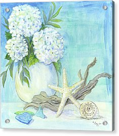 Cottage At The Shore 1 White Hydrangea Bouquet W Driftwood Starfish Sea Glass And Seashell Acrylic Print