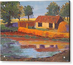 Cottage By The Pond Acrylic Print by Art Nomad Sandra  Hansen