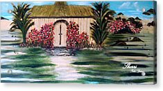 Acrylic Print featuring the painting Cottage By The Sea by Sherri  Of Palm Springs