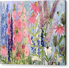 Cottage Flowers With Dragonfly Acrylic Print