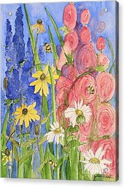 Cottage Garden Daisies And Blue Skies Acrylic Print
