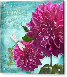Cottage Garden - Dinner Plate Dahlias W Dragonfly Acrylic Print by Audrey Jeanne Roberts