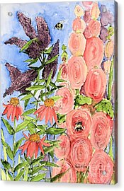 Cottage Garden Hollyhock Bees Blue Skie Acrylic Print by Laurie Rohner