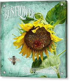 Cottage Garden - Sunflower Standing Tall Acrylic Print by Audrey Jeanne Roberts