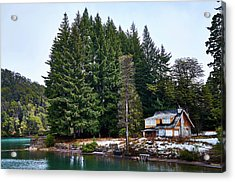 Little Cottage And Pines In The Argentine Patagonia Acrylic Print
