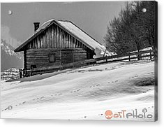 Cottage In Winter Acrylic Print