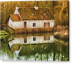 Cottage Reflection Acrylic Print by Wim Lanclus