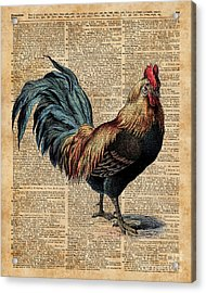 Cottage Rooster Illustration Vintage Dictionary Book Page Acrylic Print