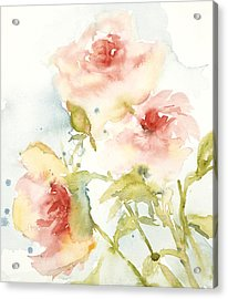 Acrylic Print featuring the painting Cottage Roses by Sandra Strohschein