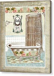 Cottage Roses - Victorian Claw Foot Tub Bathroom Art Acrylic Print