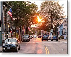 Cottage Street Summer Sunset Acrylic Print