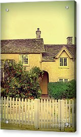 Cottage With A Picket Fence Acrylic Print by Jill Battaglia