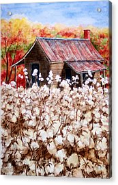 Cotton Barn Acrylic Print by Barbel Amos