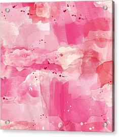 Cotton Candy Clouds- Abstract Watercolor Acrylic Print by Linda Woods