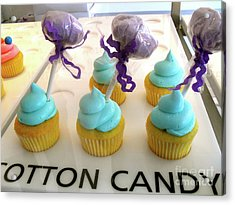Acrylic Print featuring the photograph Cotton Candy Cupcakes by Beth Saffer