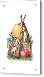 Acrylic Print featuring the digital art Cottontails And Eggs by Reinvintaged