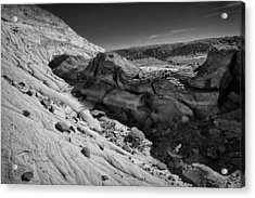 Cottonwood Creek Strange Rocks 7 Bw Acrylic Print
