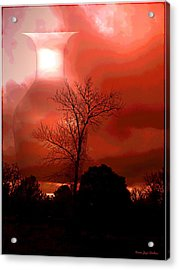 Acrylic Print featuring the photograph Cottonwood Crimson Sunset by Joyce Dickens
