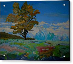 Acrylic Print featuring the painting Cottonwood On Teton Range by Francine Frank