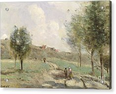 Coubron Ascending Path Acrylic Print by Jean Baptiste Camille Corot