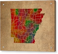 Counties Of Arkansas Colorful Vibrant Watercolor State Map On Old Canvas Acrylic Print by Design Turnpike