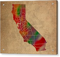 Counties Of California Colorful Vibrant Watercolor State Map On Old Canvas Acrylic Print